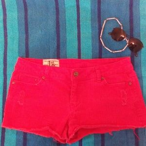 Red Jean Short Shorts